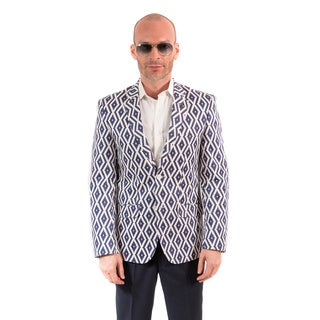 Elie Balleh Milano Italy Men's Cotton Geometric Print Slim Fit Blazer