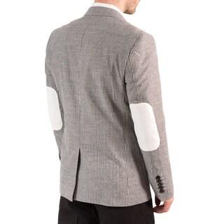 Elie Balleh Men's Milano Italy Cotton Stripe Slim Fit Blazer