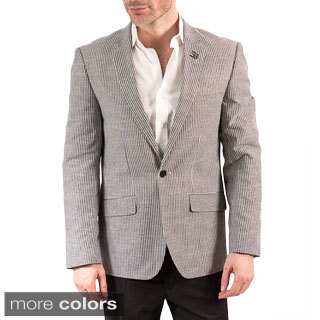 Elie Balleh Men's Milano Italy Cotton Stripe Slim Fit Blazer
