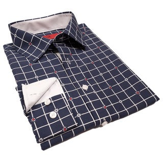 Elie Balleh Milano Italy Boys' Floral Check Slim Fit Shirt