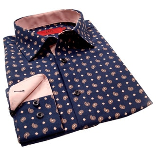 Elie Balleh Milano Italy Men's Navy Paisley Slim Fit Shirt