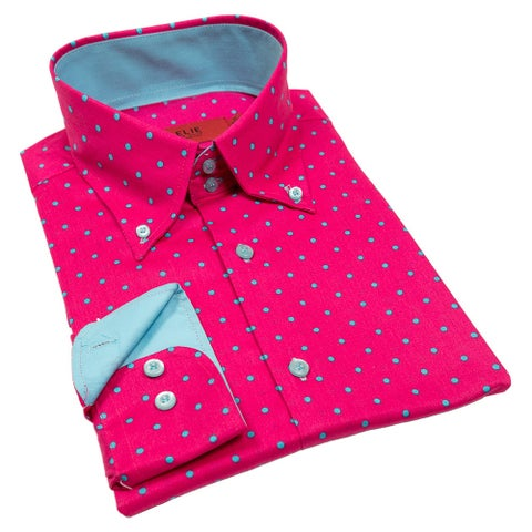 Elie Balleh Milano Italy Men's Polka Dot Slim Fit Shirt