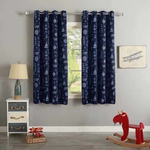 Aurora Home Maritime Print Silver Grommet Top Curtain Pair
