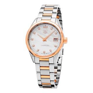 Tag Heuer Women's 'Carrera' Mother of Pearl Diamond Dial Two Tone Swiss Quartz Watch - Two-tone