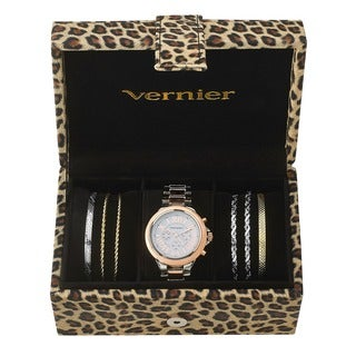 Vernier Women's Tri-tone Watch & Jewelry Bracelet Box Set