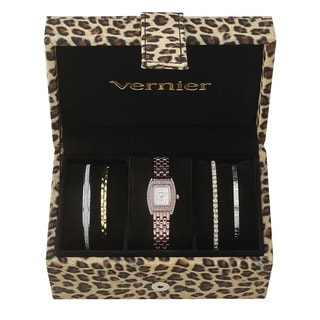 Vernier Women's Rosetone Stainless Steel V1000SET Watch and Cheetah Print Jewelry Box Set