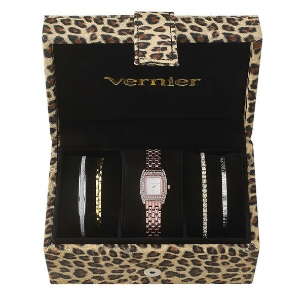Vernier Women's Rosetone Stainless Steel V1000SET Watch and Cheetah Print Jewelry Box Set