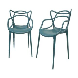 Gabriel Teal Blue Stackable Accent Chair (Set of 2)