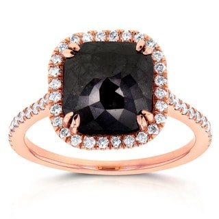 Annello by Kobelli 14k Rose Gold 3 7/8ct TDW Black and White Diamond Ring (G-H, I1-I2)