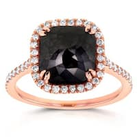 Annello by Kobelli 14k Rose Gold 3 7/8ct TDW Black and White Diamond Ring