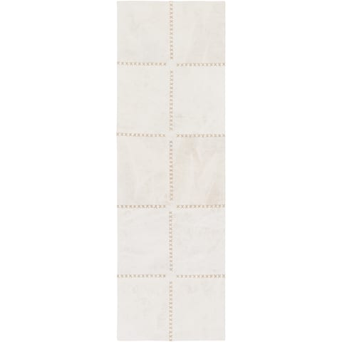 """Hand-Crafted Thirsk Crosshatched Indoor Cotton Area Rug - 2'6"""" x 8' Runner"""