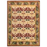 Hand-Knotted Skipton Border Wool Area Rug - 8' x 11'