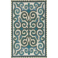 Hand-Woven Silloth Damask Wool Area Rug