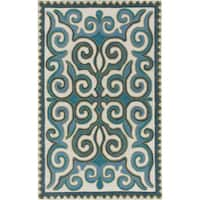 Hand-Woven Silloth Damask Wool Area Rug - 8' x 10'
