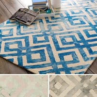 Hand-Hooked Rugeley Crosshatched Wool Area Rug - 9' x 13'