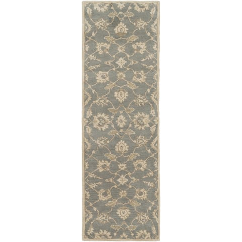 Hand-Tufted Watton Floral Wool Area Rug - 3' x 12' Runner