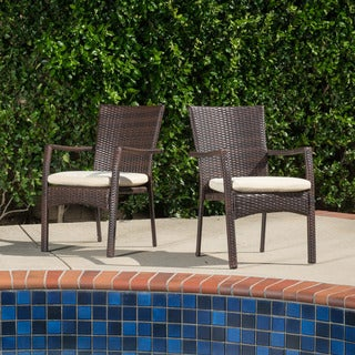 Corsica Outdoor Wicker Dining Chair with Cushion (Set of 2) by Christopher Knight Home