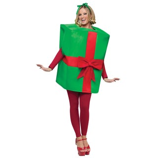 Green and Red Bow Gift Box Present Costume