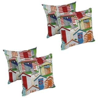 Blazing Needles Beachhuts 17-inch Spun Polyester Outdoor Throw Pillows (Set of 4)