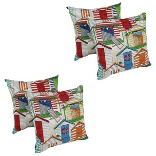 Blazing Needles Beachhuts 17-inch Spun Polyester Outdoor Throw Pillows (Set of 4)