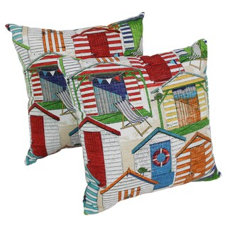 Blazing Needles Beachhuts 17-inch Spun Polyester Outdoor Throw Pillows (Set of 2)