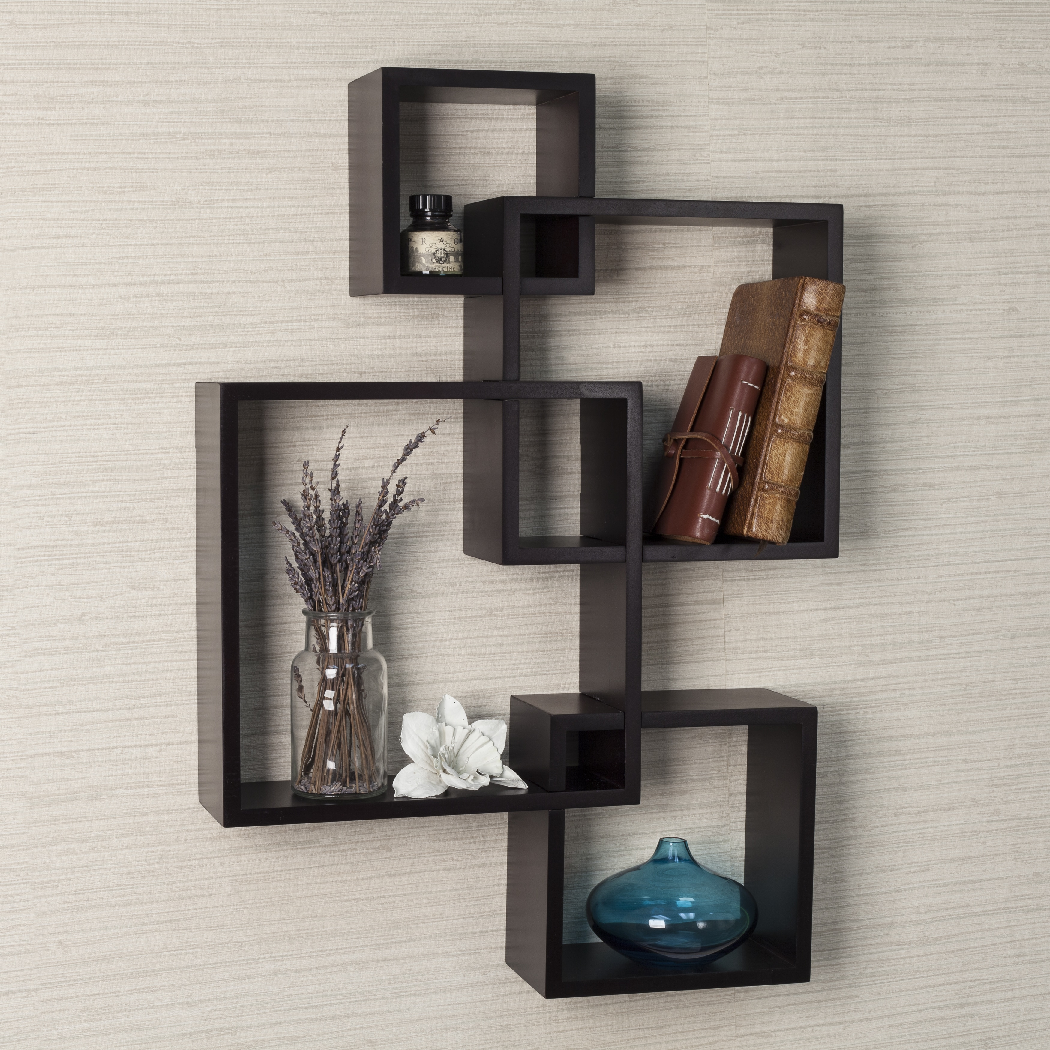 4 Cube Intersecting Wall Mounted Floating Shelves Espresso Finish