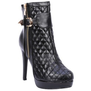 Coshare Women's Fashion Kami-02 Leather PU Quilted Upper Ankle High Heel Booties