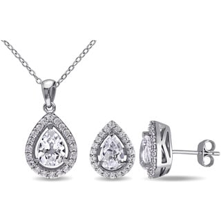 Miadora Sterling Silver Created White Sapphire Set of Necklace and Earrings