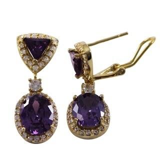 Luxiro Sterling Silver Gold Finish Cubic Zirconia Geometric Dangle Earrings