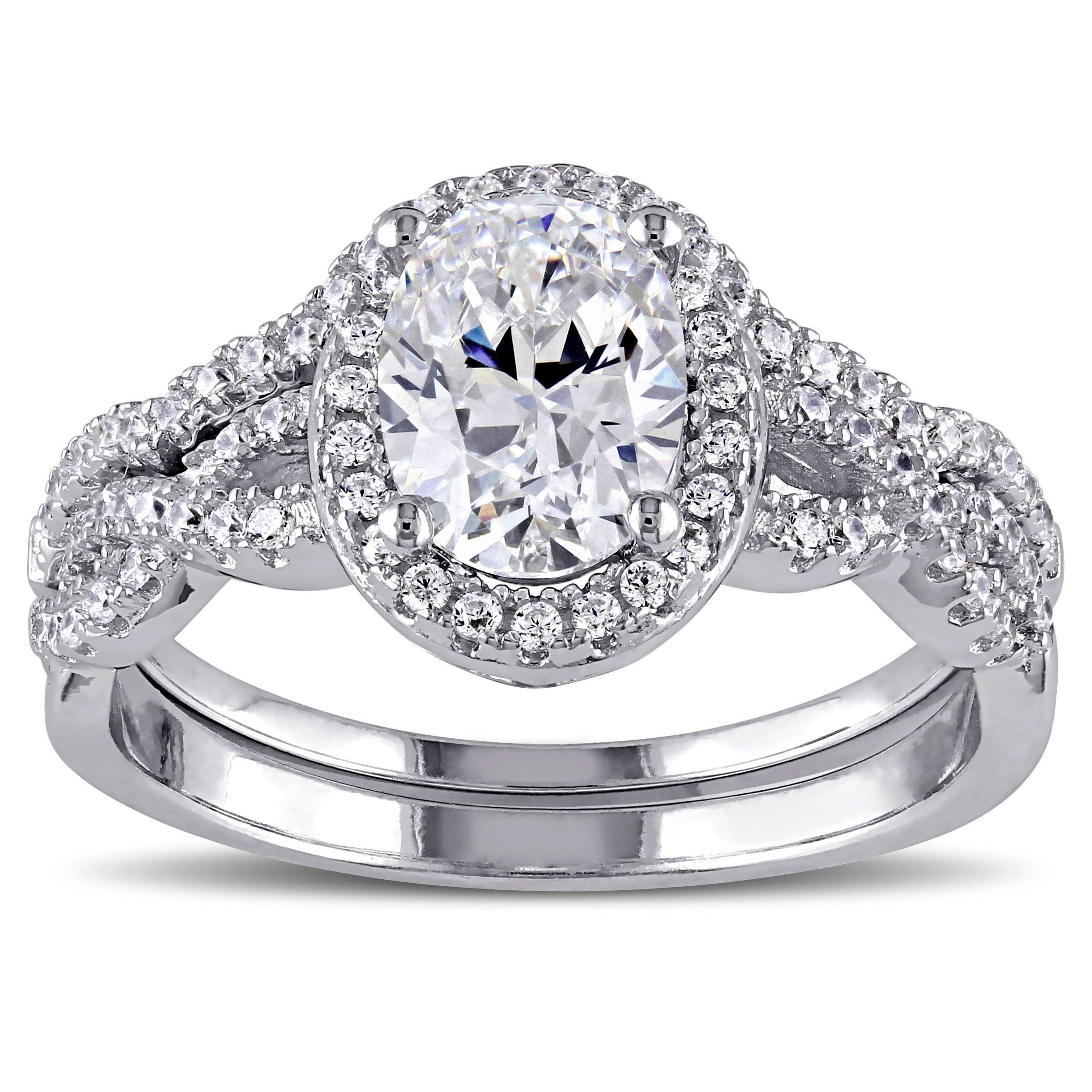 Miadora Sterling Silver Oval and Round-cut Cubic Zirconia Halo Bridal Ring set (More options available)