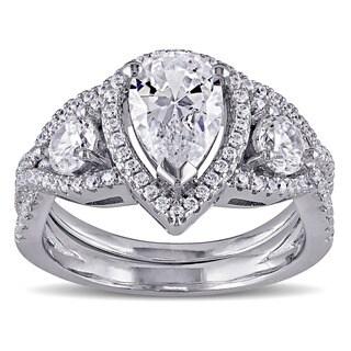 Miadora Sterling Silver Cubic Zirconia Bridal Ring Set - White
