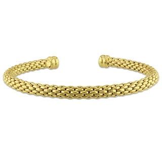Miadora Yellow Silver Cuff Bangle Bracelet