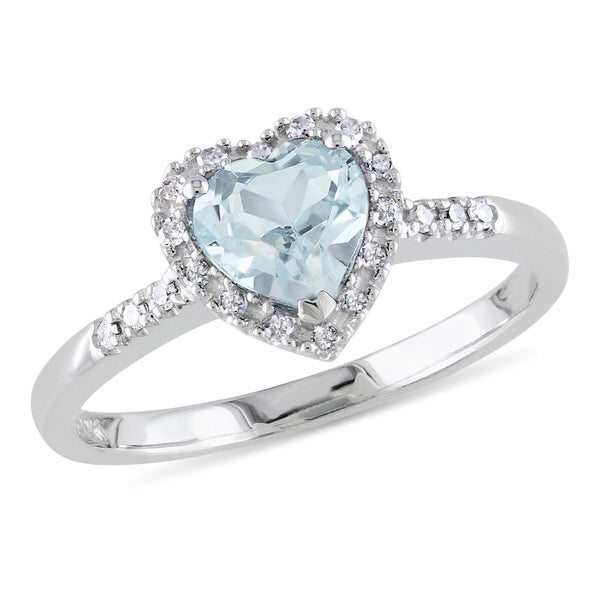 Miadora Sterling Silver Aquamarine and 1/10ct TDW Diamond Heart Ring