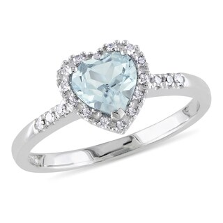 Miadora Sterling Silver Aquamarine and 1/10ct TDW Diamond Heart Ring