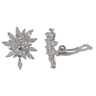 Luxiro Sterling Silver Marquise Cubic Zirconia Cluster Clip-on Earrings