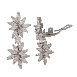 Luxiro Sterling Silver Marquise Cubic Zirconia Cluster Clip-on Dangle Earrings
