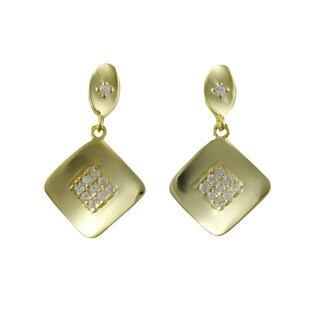 Luxiro Sterling Silver Gold Finish Pave Cubic Zirconia Square Dangle Earrings