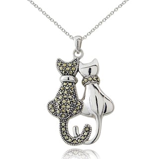 Glitzy Rocks Sterling Silver Marcasite Double Cat Necklace