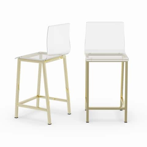 Silver Orchid Svendsen Clear Acrylic Counter Stool (Set of 2)