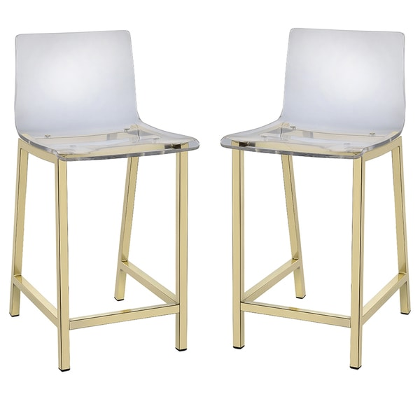 Pure Decor Clear Acrylic Counter Stool Set Of 2 Free