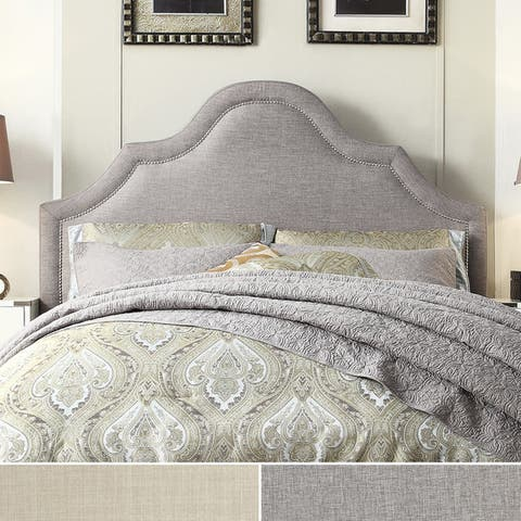 Fletcher Linen Nailhead Arch Curved Headboard by iNSPIRE Q Bold