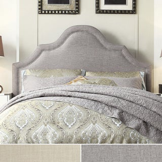 INSPIRE Q Fletcher Linen Nailhead Arch Curved Queen-sized Headboard