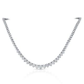 Auriya 14k Gold 10ct TDW Diamond Tennis Riviera Necklace (2 options available)