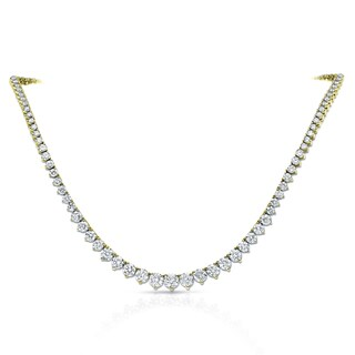 Auriya 14k Gold 10ct TDW Diamond Tennis Riviera Necklace (2 options available)