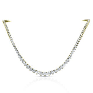 Auriya 14k Gold 10ct TDW Diamond Tennis Riviera Necklace (G-H, I1-I2)