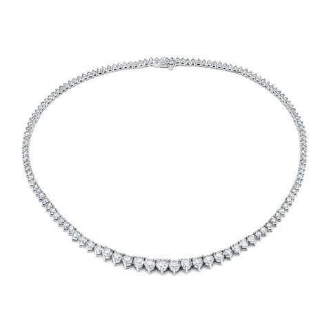 Auriya 14k Gold 10ct TDW Diamond Tennis Riviera Necklace