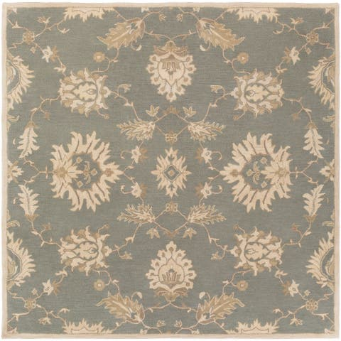 Hand-Tufted Watton Floral Wool Area Rug - 4' Square