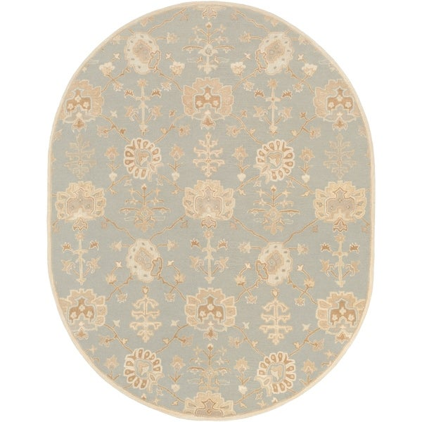 Hand-Tufted Syston Floral Wool Area Rug - 8' x 10' Oval