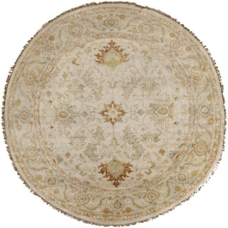 Hand-Knotted Jon Border New Zealand Wool Rug (8' Round)