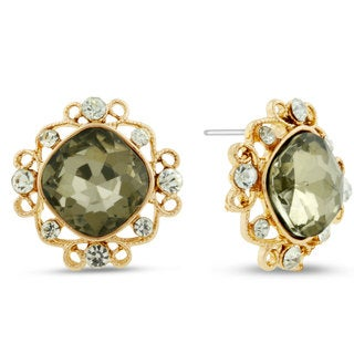 Champagne Colored Cushion Cut Stud Earrings, Pushbacks